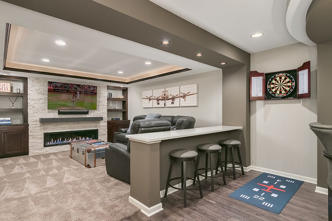 completed finished basement with home theater | basement remodel denver co