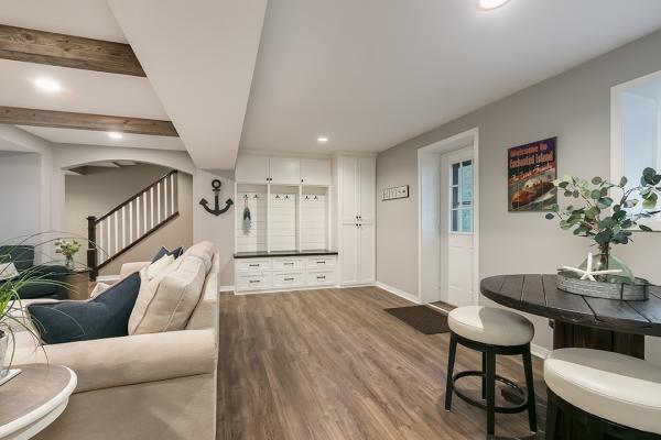 natural wood tones living room | home remodel in denver co