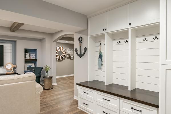 nautical white wood living room | denver co home remodel
