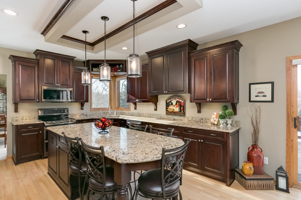 Deep wood kitchen with an island | Kitchen Remodel Naperville IL