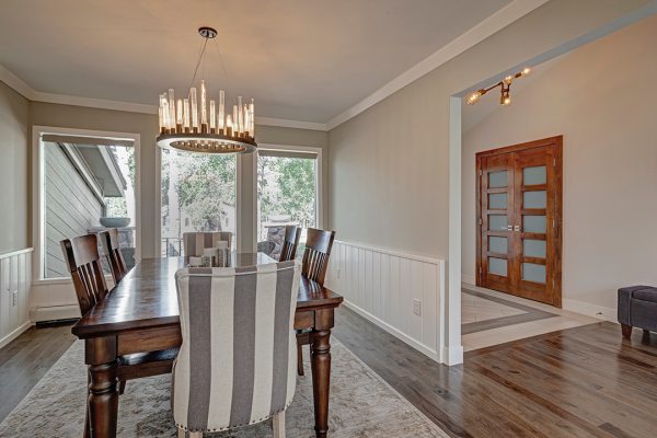 Dining room with stripes and wood | whole home remodel naperville iL