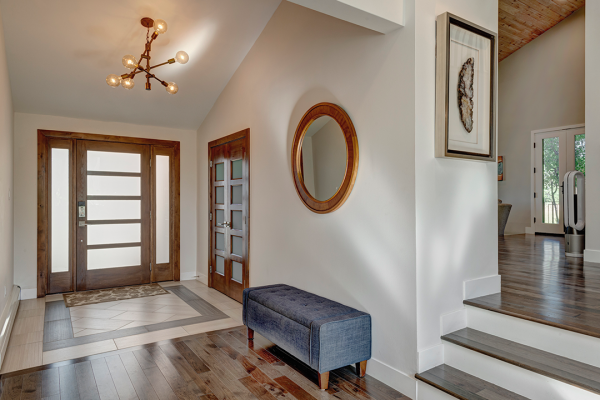 Entry way with bench and french doors | Naperville il whole home remodel