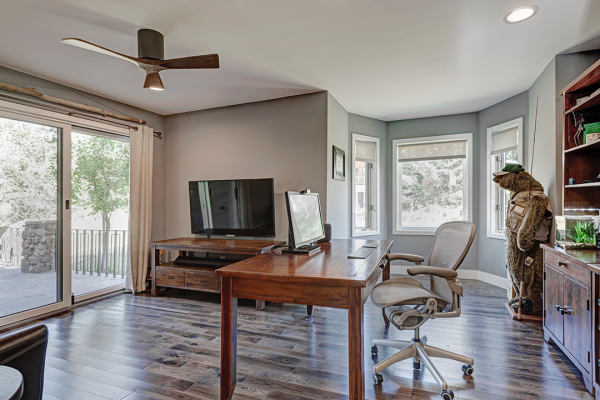 Wood tone office with work space | Whole House Remodel Naperville IL