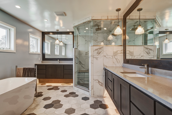 white bathroom stand alone tub wood accents | bathroom remodel naperville il