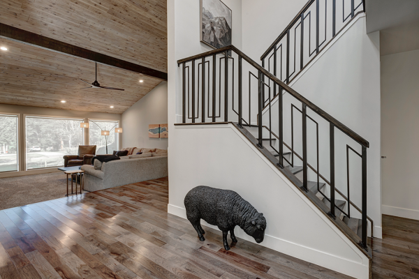 winding stair case with wood floors | naperville il whole home remodel