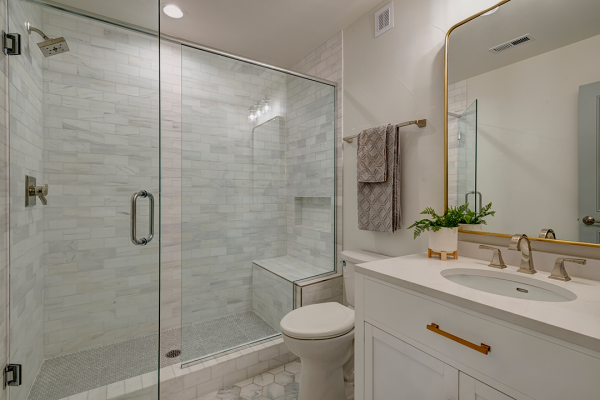 white and natural tone bathroom remodel