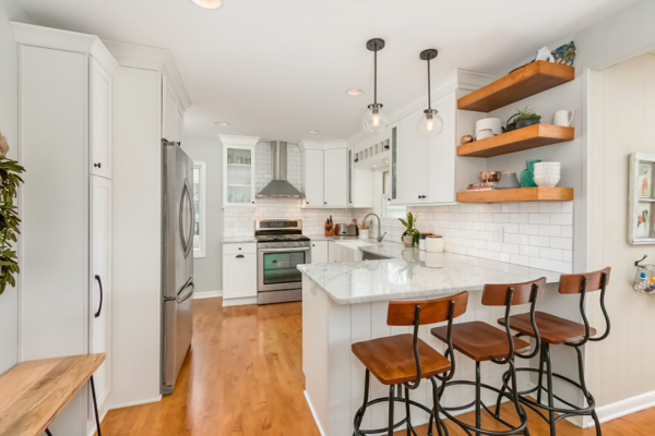white and wood tone open kitchen with island | Kitchen Remodel Naperville iL