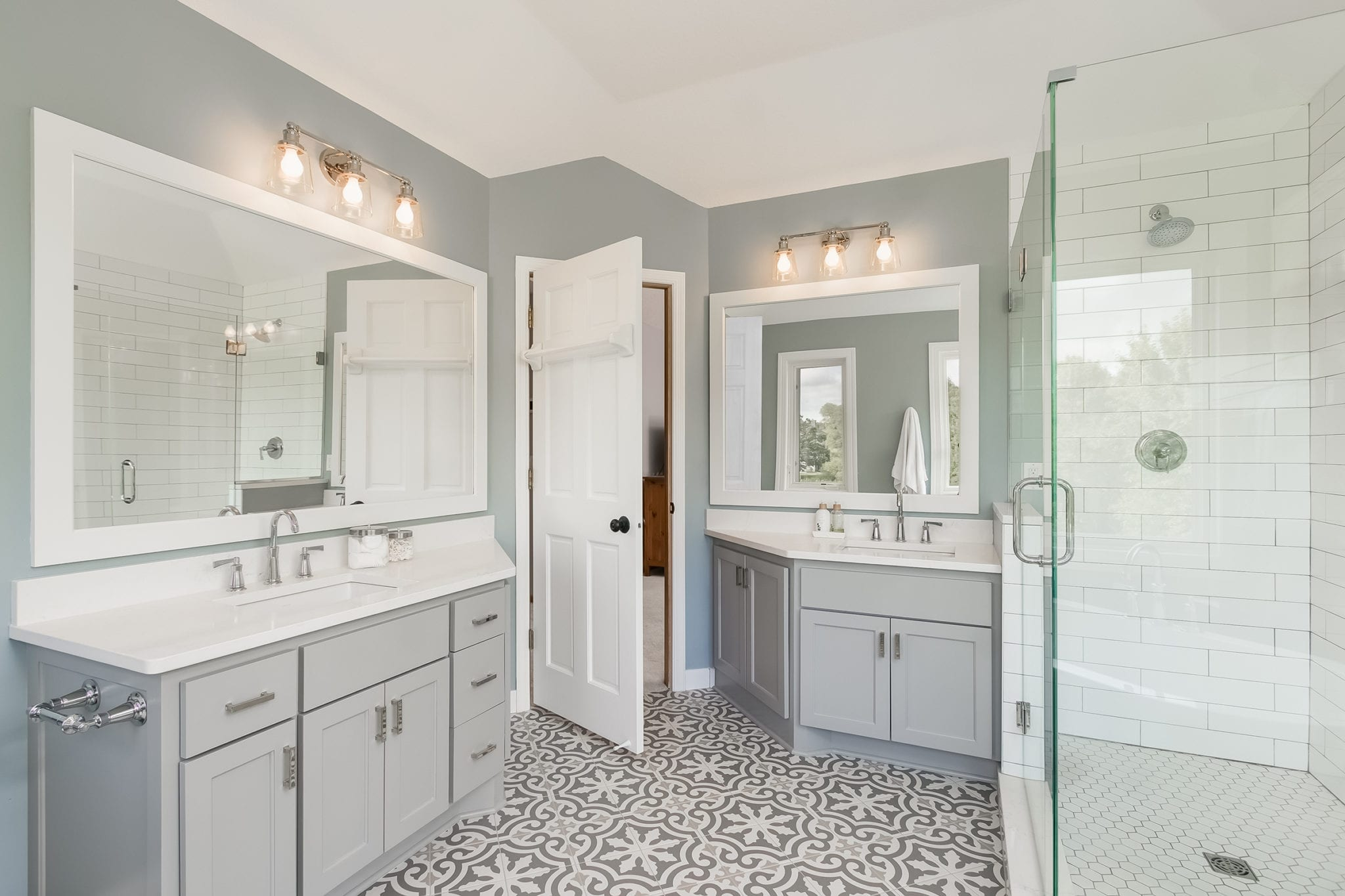 bathroom remodel patterned tile naperville il