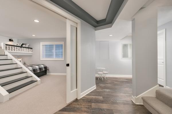 entryway to lofted bedroom in minneapolis basement remodel