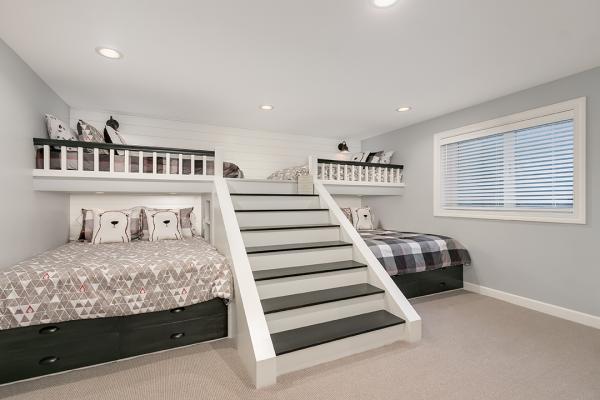 bunk beds and lofts in a bedroom | bedroom remodel minnesota