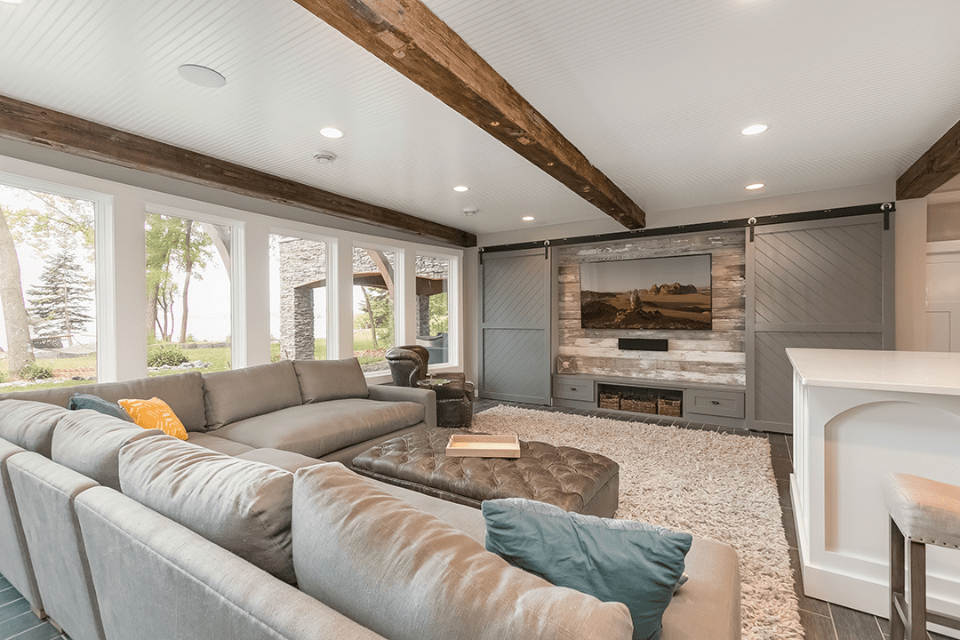 remodeled living room with neutral and wood accents minnesota