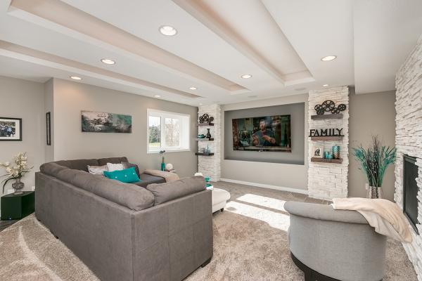 remodeled living room in basement | minneapolis