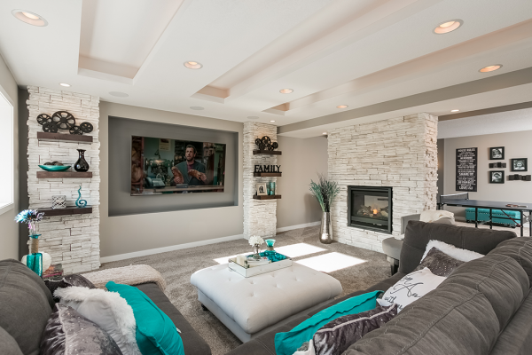 living room with gray and teal accents minneapolis