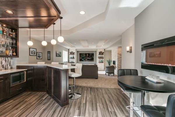 open floor plan finished basement | basement remodel minneapolis