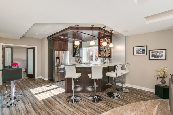 open floor plan kitchen | basement remodel minneapolis