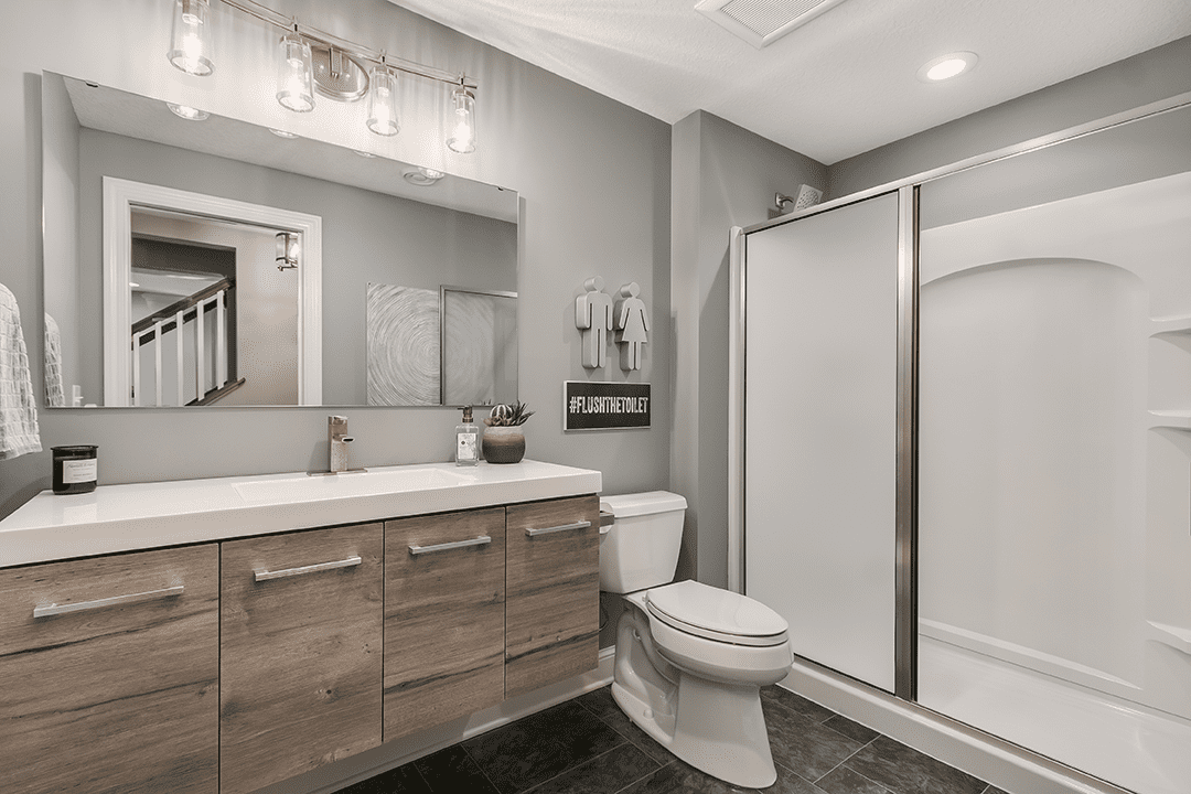 finished bathroom white and natural wood tones minnesota