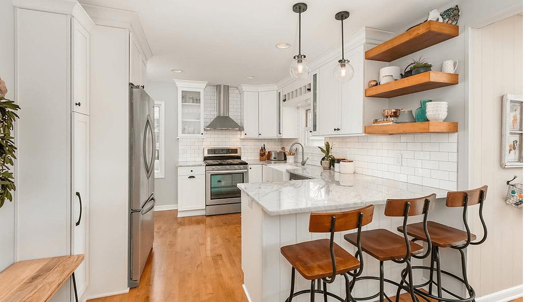 remodeled kitchen, white with wood tones minneapolis