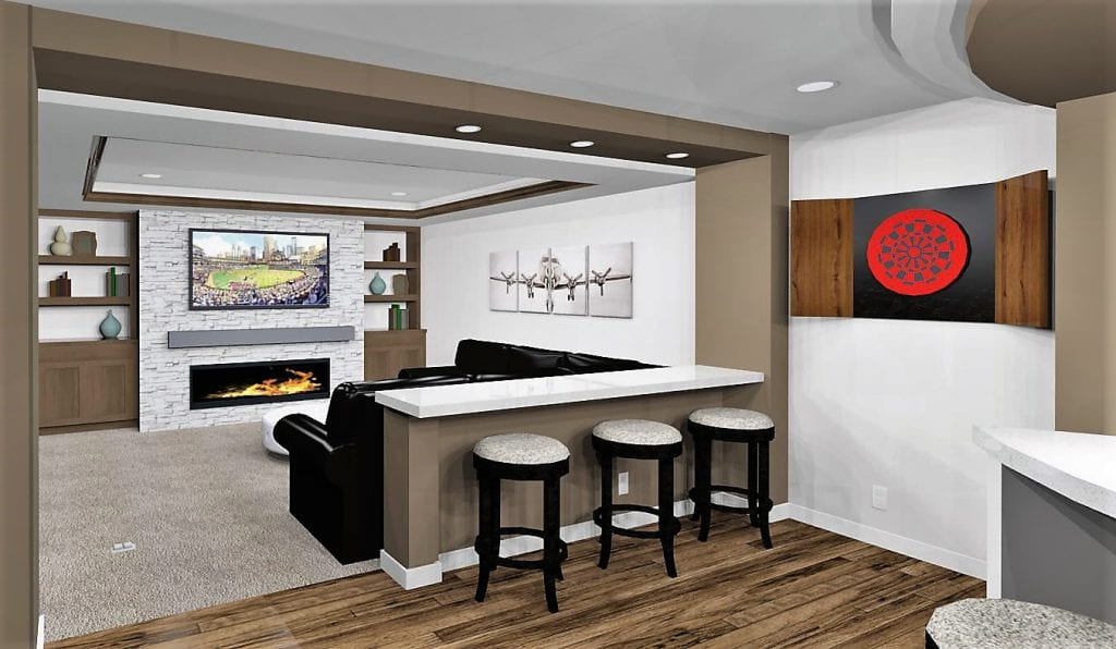3D rendering basement remodel design | basement remodel minnesota