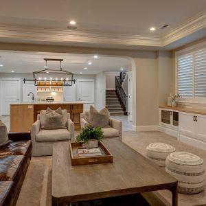 living room into basement | open concept basement remodel | denver basement renovation