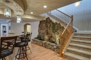 waterfall feature in basement   basement remodel   fbc remodel