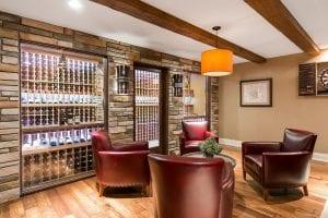 basement remodel   wine display and storage