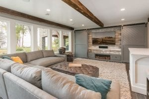 basement remodel   home theater with sliding barn doors   fbc remodel