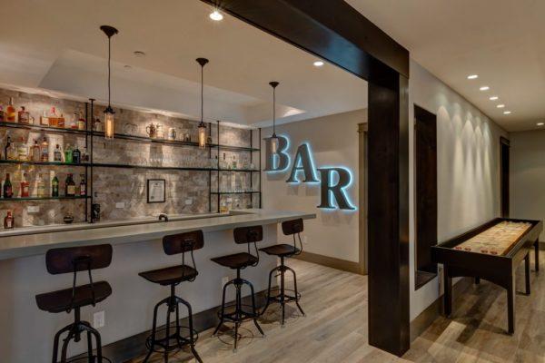 basement remodel with a wet bar | fbc remodel