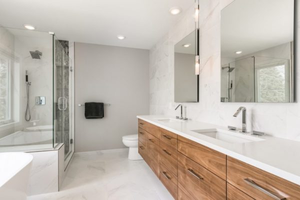 bathroom remodel | white finishes, standalone tub and walkin shower