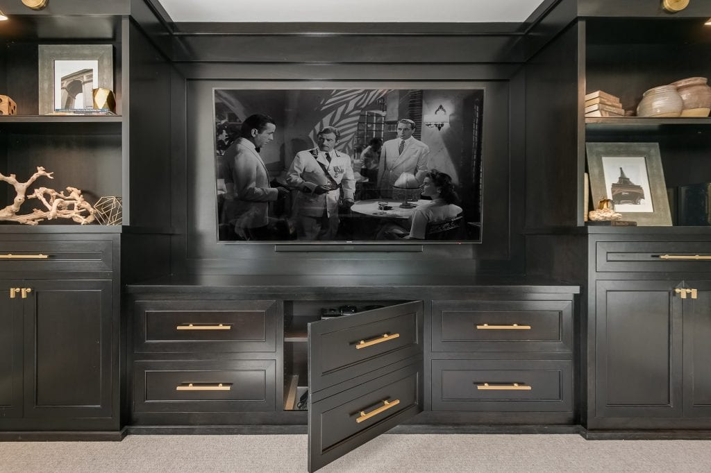 dark finish entertainment console | basement remodel| fbc remodel