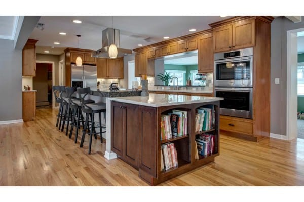 kitchen remodel with wood accents and stone walls