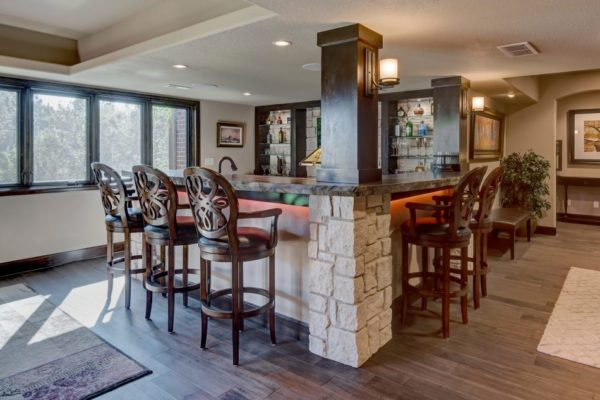 basement remodel with wet bar and microwave | fbc remodel