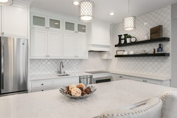 kitchen remodel | white cabinets and white counter with open shelving | fbc remodel