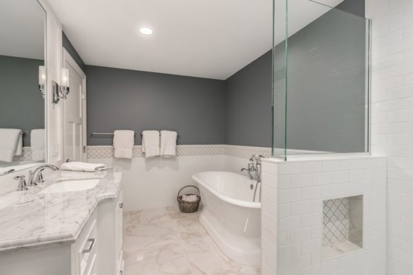 bathroom remodel with white finishes and gray walls | fbc remodel
