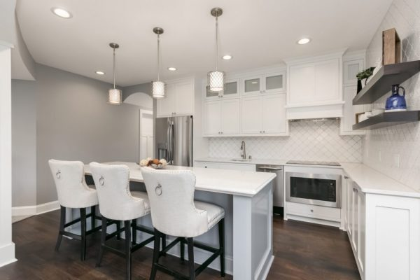 white kitchen remodel | island and pendant lights | fbc remodel