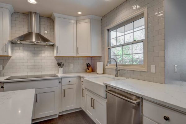 Kitchen Remodel | White countertops and stainless steel appliances | fbc remodel