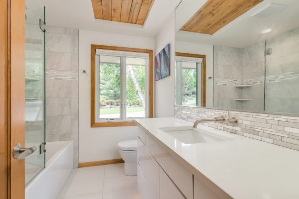 bathroom remodel | wood accents and white finishes
