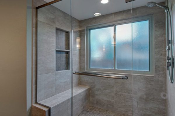 walk-in shower with bench and niche | bathroom remodel | fbc remodel