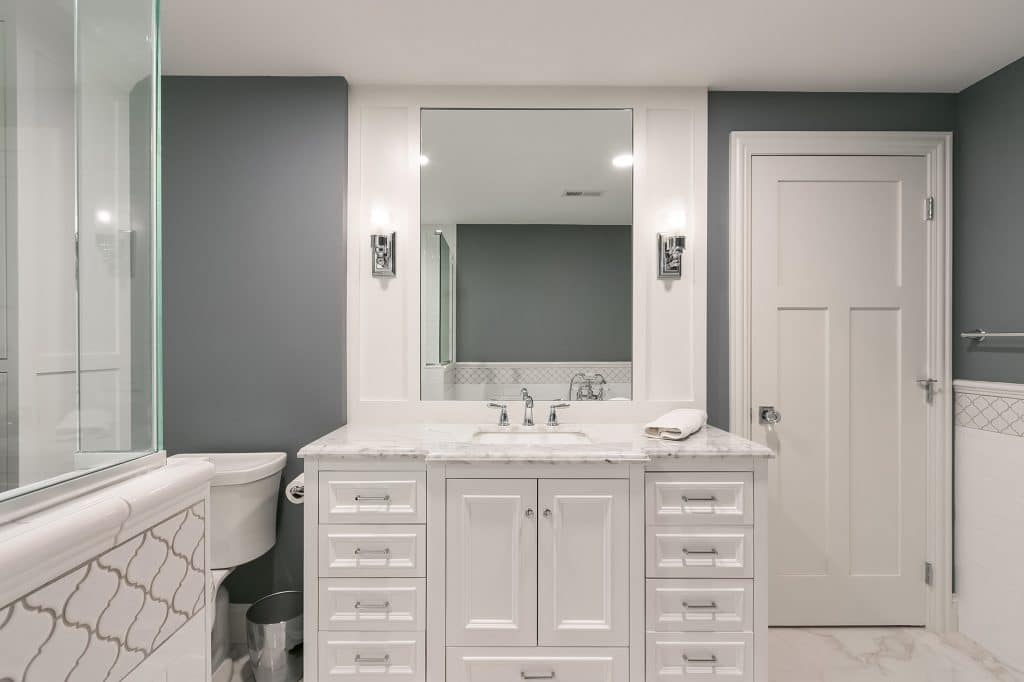 bathroom remodel with white vanity and features