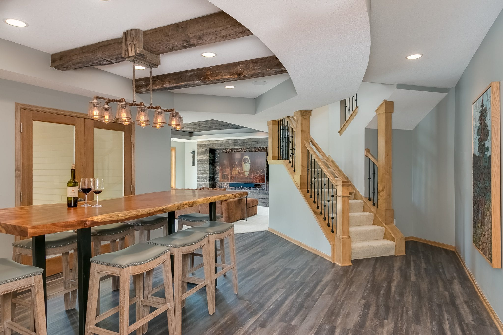 basement remodel | spiral staircase | light wood