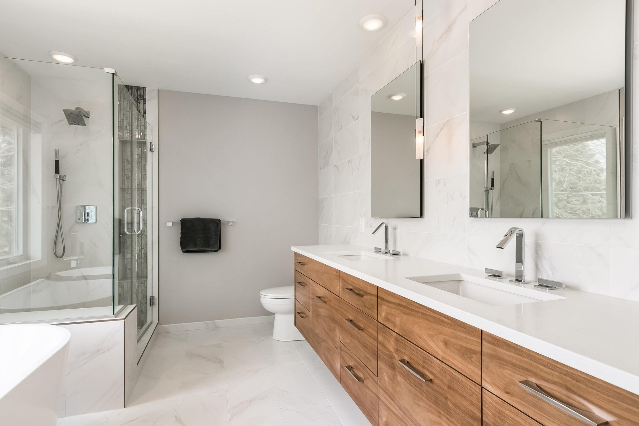 bathroom remodel | white finishes and wood cabinets