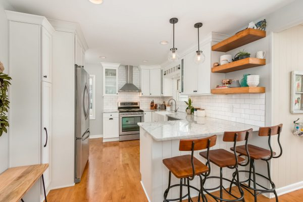 kitchen remodel | white finishes with wood accents