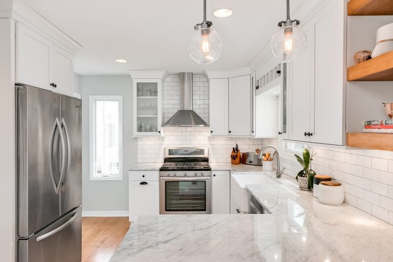 kitchen remodel | white finishes and open wood shelving
