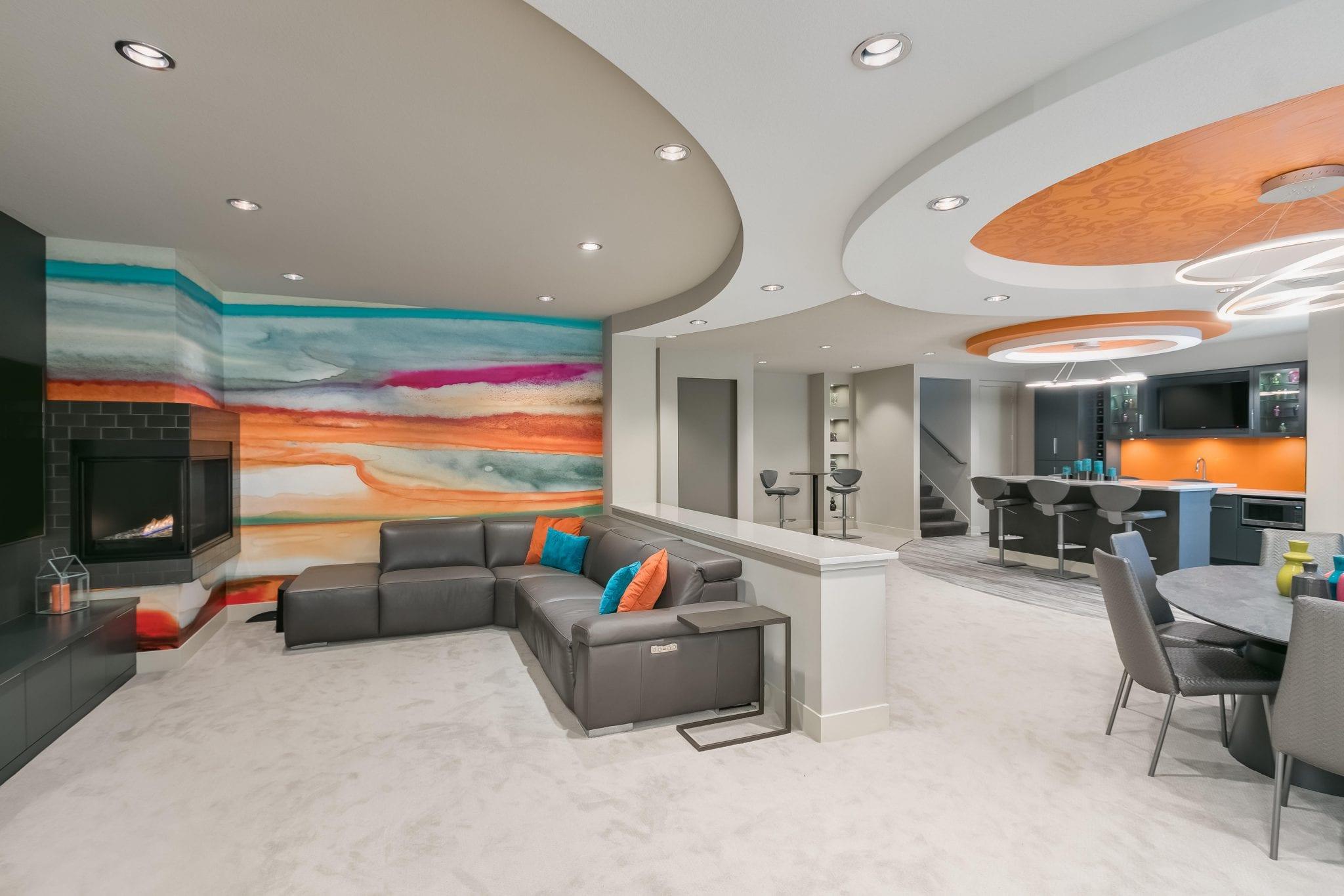 basement remodel | bright orange accents | fbc remodel