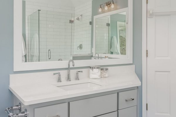 bathroom remodel | double vanity | stand alone tub | mosaic tile