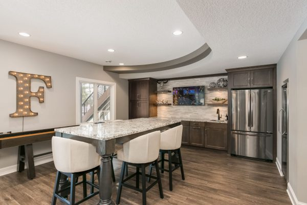 basement remodel with wet bar and kitchen island | fbc remodel