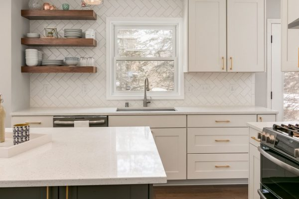kitchen remodel with white finishes and open shelving | fbc remodel