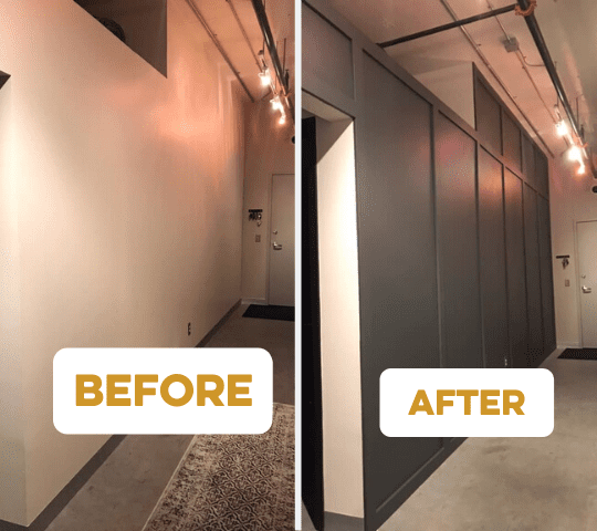 Before & After of Cabinet Storage Wall