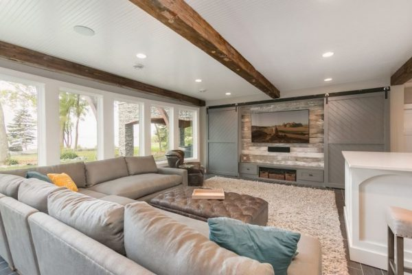 Basement Remodel | Exposed Wooden Beams and Home Theater