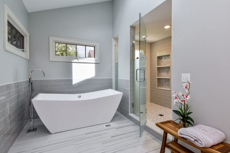 bathroom renovation with large tub